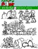 November Clipart / Graphics and Monthly Header 300dpi Color, Gray scale, BW