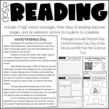 Close Reading Passages & Activities for November