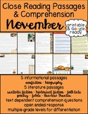 November Close Reading Passages & Comprehension - Printable & Google Ready