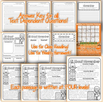 November Close Reading Passages w/ Common Core Aligned Text Dependent Questions