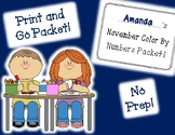 November Color By Numbers Packet! PRINT AND GO!