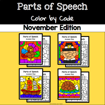 November Color by Code—Parts of Speech