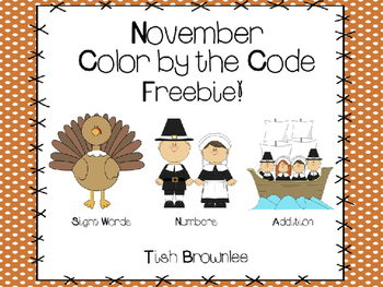 November Color by the Code Freebie