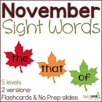 November Common Sight Words