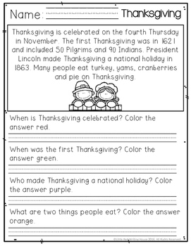 November Comprehension Passages