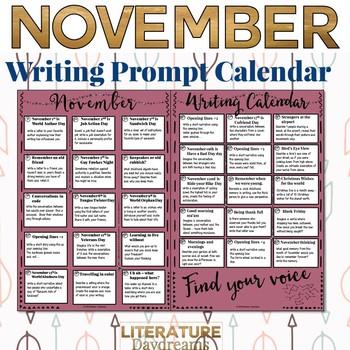 Creative Writing Prompts Calendar: November