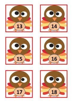 November Cute Turkey Calendar Cards