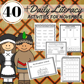 Literacy Activities 2nd Grade November Reading, Writing, Word Work