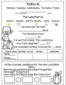 November Daily Calendar/Weather Activities...Math Review and Practice