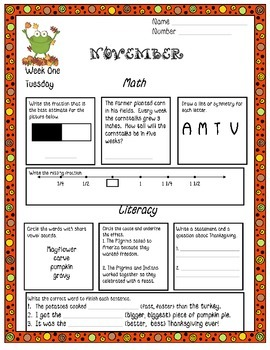 November Daily Common Core Practice Third Grade Language and Math Skills