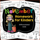 Homework: Kindergarten November Packet (Differentiated Fall)