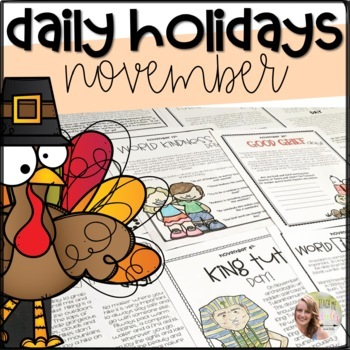 November Daily Holidays and Celebrations- NO PREP!