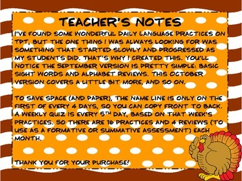 November Daily Language Practice and Assessment for 1st Grade