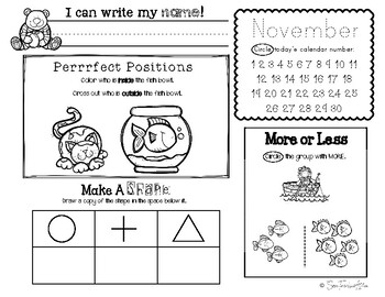 November Daily Literacy & Math Morning Work {Pre-K & Kindergarten} No Prep!
