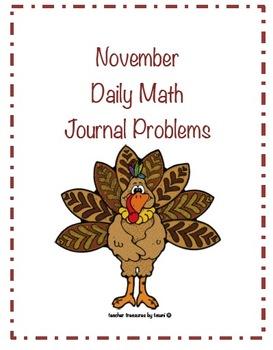 November Daily Math Journal Problems