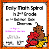 November Daily Math Spiral for 2nd grade (Common Core)
