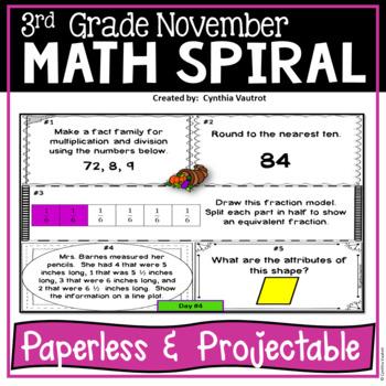 November Daily Math Spiral For 3rd Grade Common Core No Prep Tpt