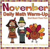 November Daily Math Warm-Up (1st Grade Common Core)
