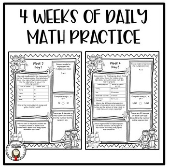 Thanksgiving Math Worksheets and Assessments - Morning Work