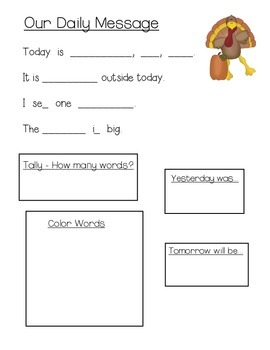 November Daily Messages for Kindergarten