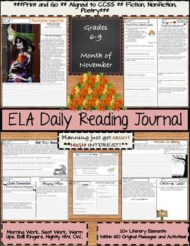 November Daily Morning Work ELA Bell Ringers for Middle School