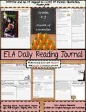 ELA Daily Reading Journal - November - Bell Ringers Morning Work