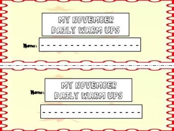 November Daily Warm Ups for Kindergarten