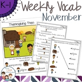 November Daily Weekly Thematic Vocabulary Word Work
