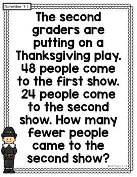 November Daily Word Problems {Second Grade}