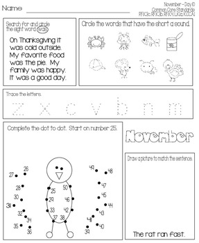 November Daily Work for Kindergarten Common Core (And More!)