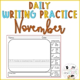 November Daily Writing Prompts for Kindergarten and First Grade