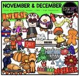 November December Clip Art Bundle {Educlips Clipart}