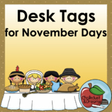 November Desk Tags   Editable