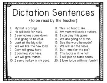 November Dictation {For the Beginner}