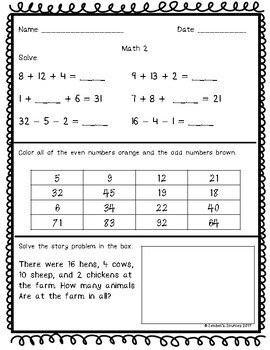 November Differentiated Morning Work Math and Literacy