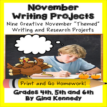 November Creative Writing Projects for Upper Elementary Students