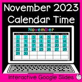November Digital Calendar Time for Google Slides ~ 1st Gra