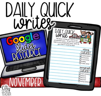 November Digital Daily Quick Writes use with Google Slides