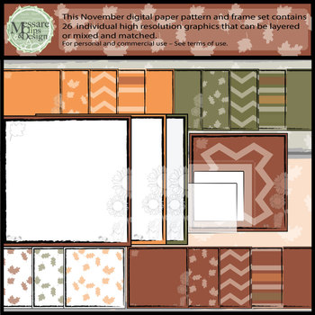 November Digital Printable Patterns and Frames {Messare Clips and Design}