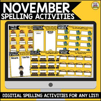 November Digital Spelling Activities for Word Work