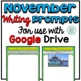 November Digital Writing Prompts for use with Google Slides