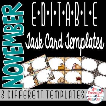 November EDITABLE Task Card TEMPLATES