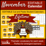 November Content Vocabulary Calendar for First Grade