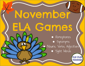 November ELA Stations - homophones, synonyms, parts of speech, sight words