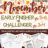 November Early Finisher or Challenger Packet Grades 3-6