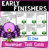 Early Finishers Task Card Activities for November {$1 Deal}