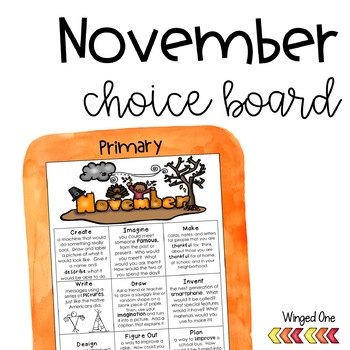 November Early Finishers {Primary} Choice Board