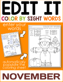 November Edit It Color By Sight Word - Editable Printables