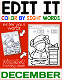 December Edit It Color By Sight Word - Editable Printables