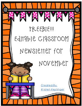 November Editable Newsletter FREEBIE!